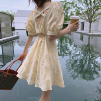 Dress Summer 2021 Short and long S M L XL Short skirt singleton  Short sleeve commute V-neck High waist Solid color Socket Big swing puff sleeve Others 18-24 years old To knock lady backless More than 95% polyester fiber Polyester 100% Pure e-commerce (online only)