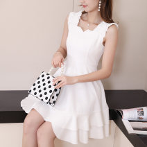 Dress Summer of 2019 Pink White Black S M L XL Middle-skirt singleton  Sleeveless commute High waist Solid color Socket Others 25-29 years old Neusier Korean version L820RX 91% (inclusive) - 95% (inclusive) polyester fiber Polyester fiber 94.1% polyurethane elastic fiber (spandex) 5.9%