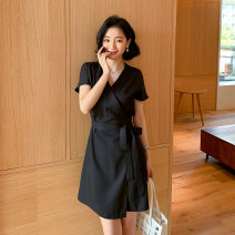 Dress Summer 2020 black S M L XL XXL Mid length dress Short sleeve commute V-neck High waist Solid color Socket A-line skirt 25-29 years old Neusier Frenulum L1470RX More than 95% Chiffon polyester fiber Polyester 100%