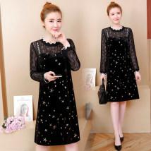 Dress Summer of 2018 black LXL2XL3XL4XL Mid length dress singleton  Long sleeves commute Pile collar Loose waist other One pace skirt Pile sleeve