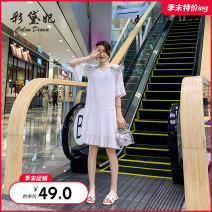 Dress Summer of 2019 Black and white S M L Mid length dress singleton  elbow sleeve commute High waist 25-29 years old Caidaifei Korean version ZBL0063 More than 95% polyester fiber Polyester 100%