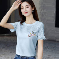Women's large Spring 2021 White, blue, pink, black 11 Large L, large XL, s, m, 2XL other Short sleeve Crew neck routine cotton Petal sleeve 18-24 years old Embroidery 91% (inclusive) - 95% (inclusive)