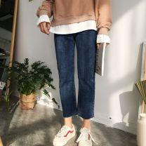 Jeans Spring 2021 M,L,XL,2XL,3XL,4XL Ninth pants High waist Straight pants routine 18-24 years old Cotton elastic denim Dark color