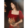 Dress / evening wear Weddings, adulthood parties, company annual meetings, daily appointments S M L XL XXL XXXL claret Korean version longuette middle-waisted Autumn 2020 Fall to the ground square neck zipper 18-25 years old Solid color Jiaostep puff sleeve Other 100%