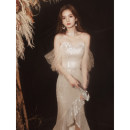 Dress / evening wear Jiaostep Other 100% Weddings, adulthood parties, company annual meetings, daily appointments longuette fish tail Autumn 2020 Korean version middle-waisted Chest type zipper JB200952 18-25 years old other Solid color S M L XL XXL XXXL Champagne sequins black sequins