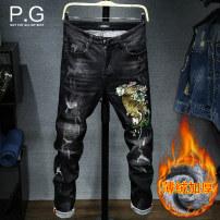 Jeans Youth fashion P. G / floating port Twenty-eight 6335 black Plush and thicken Micro bomb Heavy denim DA4666335 Cotton 99.1% polyurethane elastic fiber (spandex) 0.9% Winter 2017 Pure e-commerce (online only)