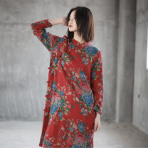 Dress Spring 2020 Old red flower - loose cheongsam Average size longuette singleton  Long sleeves commute stand collar Loose waist Big flower Single breasted other routine Others Type H ethnic style Make old, print, coil button More than 95% cotton