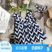 Dress Blue striped open back dress + Hair Band female Other / other The recommended height is below 90cm for size 7, 100cm for size 9, 110cm for size 11, 120cm for size 13 and 130cm for size 15 Other 100% summer Korean version Skirt / vest stripe other A-line skirt Class B