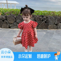 Dress gules female Other / other 80cm,90cm,100cm,110cm,120cm,130cm Other 100% summer Korean version Short sleeve Dot other A-line skirt X55109 Class B 2 years old, 3 years old, 4 years old, 5 years old, 6 years old, 7 years old Chinese Mainland