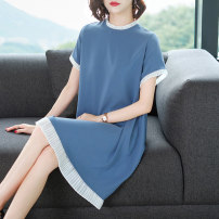 Dress Summer 2020 Pink black blue M L XL XXL XXXL 4XL longuette singleton  Short sleeve commute Crew neck Loose waist Solid color Socket A-line skirt routine Others 40-49 years old Type A Frosty Splicing 31% (inclusive) - 50% (inclusive) polyester fiber