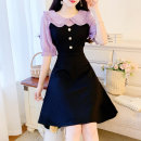 Dress Summer 2021 Apricot, purple S,M,L Middle-skirt Fake two pieces Short sleeve commute Doll Collar High waist Solid color zipper A-line skirt 18-24 years old Type A Other / other lady 81% (inclusive) - 90% (inclusive) Chiffon other