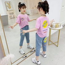 suit J-61 110cm 120cm 130cm 140cm 150cm 160cm female summer leisure time Short sleeve + pants 2 pieces Thin money There are models in the real shooting Socket nothing Cartoon animation children Learning reward Class B Other 100% Summer 2020 Chinese Mainland Zhejiang Province Huzhou City