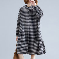 Women's large Spring 2020 Black and white, brown Big size average Dress singleton  commute easy Socket literature stand collar Medium length routine YLM19QT0101867 Yilanmei 30-34 years old Medium length Other 100% Pure e-commerce (online only)