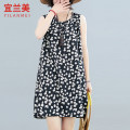 Women's large Summer 2020 black M L XL XXL Dress singleton  commute easy moderate Socket Sleeveless Broken flowers literature Crew neck routine hemp printing and dyeing other YLM20XT8845D Yilanmei 25-29 years old pocket Middle-skirt Other 100% Pure e-commerce (online only) Princess Dress
