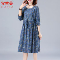 Dress Autumn 2020 M L XL 2XL 3XL Mid length dress singleton  Long sleeves commute Crew neck Elastic waist Decor Socket Big swing routine Others 30-34 years old Yilanmei literature Lace up print More than 95% other other Other 100% Pure e-commerce (online only)
