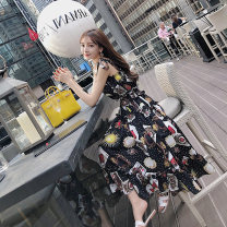 Dress Spring of 2019 Short and long S M L XL Mid length dress singleton  Sleeveless commute One word collar High waist Socket Big swing camisole 18-24 years old Century girl Korean version More than 95% other Other 100% Pure e-commerce (online only)