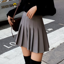 skirt Autumn of 2019 XXS XS S M L XL XXL Short skirt Versatile High waist Pleated skirt Solid color Type A 18-24 years old 91% (inclusive) - 95% (inclusive) MC mecover / micafur polyester fiber Pleating Polyester fiber 93.5% polyurethane elastic fiber (spandex) 6.5%
