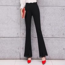 Casual pants Black regular [Plush] black S M L XL 2XL 3XL Summer of 2019 Ninth pants Flared trousers High waist commute routine 25-29 years old 91% (inclusive) - 95% (inclusive) X19B1007 Ciaso other Korean version Diamond inlay Other 100% Same model in shopping mall (sold online and offline)