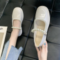 Low top shoes 35 36 37 38 39 40 Good Bashi Black Beige Round head PU Flat bottom Low heel (1-3cm) Shallow mouth PU Spring 2021 Trochanter Korean version Adhesive shoes Youth (18-40 years old) Solid color rubber Single shoes Shallow mouth PU leisure time Face dressing Pure e-commerce (online only)