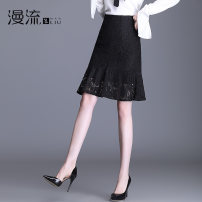 skirt Summer 2021 26/S 27/M 28/L 29/XL 30/2XL 31/3XL 32/4XL black Middle-skirt commute High waist Ruffle Skirt Solid color Type H ML21D299 Lace Overflow Cut out zipper with ruffle Korean version Pure e-commerce (online only)