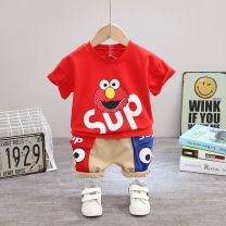 suit Mother and baby 80cm 90cm 100cm 110cm 120cm male summer leisure time Short sleeve + pants 2 pieces Thin money Socket nothing Cartoon animation cotton children Expression of love c8788-xx-76 Class A 12 months 9 months 18 months 2 years 3 years 4 years 5 years old