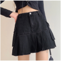 skirt Spring 2021 XS,S,M,L,XL black Short skirt Retro High waist A-line skirt Solid color Type A 25-29 years old RS-004 91% (inclusive) - 95% (inclusive) Denim other Pleats, pockets, stitching 61G / m ^ 2 (including) - 80g / m ^ 2 (including)