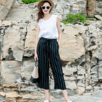 Casual pants Black, white S,M,L,XL Summer 2020 Ninth pants Wide leg pants Natural waist commute routine 25-29 years old 96% and above hemp literature pocket hemp