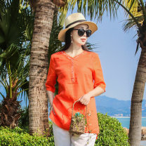 shirt Orange, blue S,M,L Summer 2020 hemp 96% and above elbow sleeve Original design Medium length V-neck Socket routine Solid color 30-34 years old Straight cylinder chenyulin Jiarong Embroidery hemp