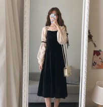 Dress Spring 2021 black S,M,L,XL Mid length dress singleton  Long sleeves Sweet Admiral Loose waist other Socket A-line skirt routine Others 18-24 years old Type A Stitching, bowknot, lace up 30% and below corduroy other