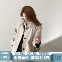 Women's large Spring 2021 Beige JH S M L XL 2XL 3XL 4XL Jacket / jacket singleton  Sweet Self cultivation moderate Cardigan Short sleeve Solid color square neck Medium length puff sleeve 12-21C5331MS-XX Apricot blossom love 18-24 years old pocket Short skirt Polyester 100% Irregular skirt college