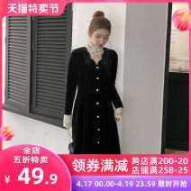 Women's large Spring 2021 Black dress JH base coat + sling JH three piece set JH S M L XL 2XL 3XL 4XL skirt Three piece set Sweet Self cultivation moderate Socket Short sleeve Solid color V-neck Medium length puff sleeve 12-21C5365-XX Apricot blossom love 18-24 years old Lace stitching longuette Mori