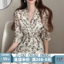 Women's large Summer 2021 Dress singleton  Sweet Self cultivation moderate Socket Short sleeve Broken flowers V-neck puff sleeve Apricot blossom love 18-24 years old Medium length Polyester 100% Pure e-commerce (online only) Irregular skirt Mori