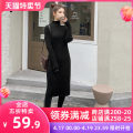 Women's large Spring 2021 Black JH S M L XL 2XL 3XL 4XL Dress singleton  Sweet Self cultivation moderate Socket Short sleeve Solid color V-neck Medium length puff sleeve 12-29C5357HS-XX Apricot blossom love 18-24 years old Lace stitching longuette Polyester 42% viscose 40% polyamide 18% Mori