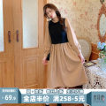 Women's large Spring 2021 Khaki JH S M L XL 2XL 3XL 4XL skirt Fake two pieces Sweet Self cultivation moderate Socket Short sleeve Solid color V-neck Medium length puff sleeve 1-23C5379KQ-NG Apricot blossom love 18-24 years old Lace stitching longuette Pure e-commerce (online only) Irregular skirt