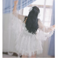 Women's large Summer 2020, spring 2020 Angel white Dress singleton  Sweet easy thin Socket elbow sleeve Solid color polyester fiber pagoda sleeve 18-24 years old fungus Middle-skirt Ruffle Skirt princess