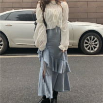 skirt Autumn 2020 S,M,L Tencel jeans longuette commute High waist Ruffle Skirt Solid color Type A 18-24 years old cotton Lotus leaf edge