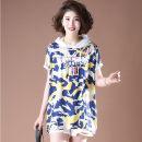 T-shirt Dark blue, pink L,XL,2XL,3XL,4XL Summer 2021 Short sleeve Hood Straight cylinder Medium length commute cotton 96% and above 30-34 years old Korean version Other / other