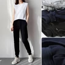 Casual pants 5618 black waist drawstring pants, 5618 gray waist drawstring pants, 5618 Baolan waist drawstring pants S,XL,L,M Spring 2021 trousers low-waisted Versatile routine 81% (inclusive) - 90% (inclusive) Good products for bathing cotton cotton