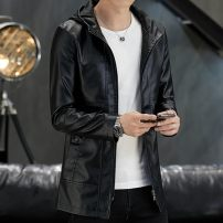 leather clothing Others Youth fashion Black, black plush M,L,XL,2XL,3XL,4XL,5XL,6XL,7XL,8XL Medium length Imitation leather clothes Hood Slim fit zipper winter leisure time youth Polyester 90.1% other 9.9% tide 9813-08PY1 Cloth hem Side seam pocket Multiple pockets No iron treatment