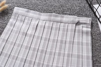 skirt Summer of 2019 S,M,L,XL Silver grey check Short skirt Versatile Natural waist A-line skirt lattice Type A other