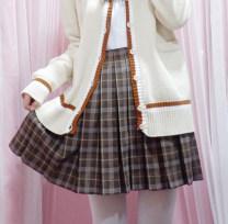 skirt Winter 2017 S,M,L Chocolate bar Short skirt Versatile High waist Pleated skirt lattice Type A 31% (inclusive) - 50% (inclusive) other other