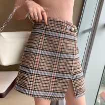Dress Winter 2020 brown 1 / s, 2 / m, 3 / L Short skirt singleton  commute lattice A-line skirt Type A SANDRO TEAM SFPJU00449 91% (inclusive) - 95% (inclusive)