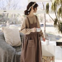 Dress Spring 2021 Brown Average size longuette singleton  Sleeveless Sweet square neck middle-waisted other other Others Type A Lotus leaf edge More than 95% other hemp solar system