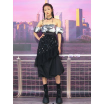 Dress Autumn 2020 black XS,S,M longuette singleton  Short sleeve commute One word collar High waist Hand painted zipper Lantern skirt other Breast wrapping 18-24 years old Type A Retro