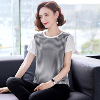 T-shirt Summer 2021 Short sleeve Crew neck easy have cash less than that is registered in the accounts routine commute polyester fiber 96% and above Korean version classic lattice Huanjinshan / golden fir HJS202151827-2 thread Polyester 100% Pure e-commerce (online sales only) Black and white