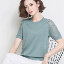 T-shirt M L XL XXL Summer 2020 Short sleeve Crew neck easy have cash less than that is registered in the accounts routine commute other 96% and above Korean version Solid color Huanjinshan / golden fir Lace thread Other 100% Pure e-commerce (online only)