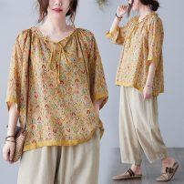 Women's large Summer 2021 yellow Big size average shirt singleton  commute thin Socket ethnic style Yingluolan Other 100%