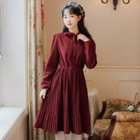 Dress Winter 2020 Red blue S M L XL Mid length dress singleton  Long sleeves commute Crew neck High waist Solid color Socket A-line skirt shirt sleeve Others 18-24 years old Type A Shurui Retro Bow button S2033320 More than 95% other other Other 100%