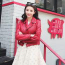 leather clothing Quba Chenopodium Summer of 2018 S M L XL 2XL Black Yang Mi red Yang Mi red Zhao Liying black wheel of destiny red black Chen Jon have cash less than that is registered in the accounts Long sleeves Self cultivation commute tailored collar zipper routine Sheepskin printing