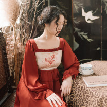 Dress Autumn of 2019 S spot, m spot, l spot Mid length dress singleton  Long sleeves commute square neck High waist other Socket Big swing puff sleeve Others Type A Retro More than 95% polyester fiber
